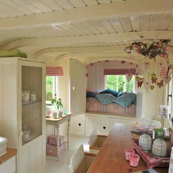 Tiny home love the vintage white sweet feel of this home