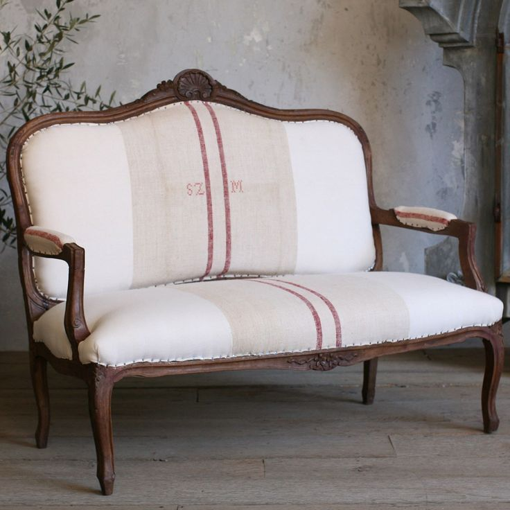 Circa 1940! One of a Kind Vintage Settee Louis XV Grain Sack from @LaylaGrayce #laylagrayce #vintage #settee