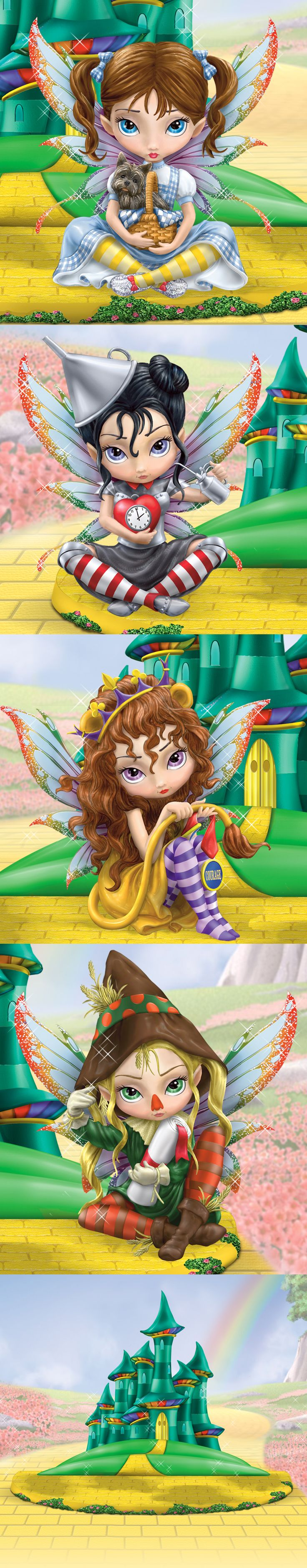 4 winged fairies, including Dorothy and Tin Girl, by renowned artist Jasmine Becket-Griffith, display of Yellow Brick Road leading to Emerald City.