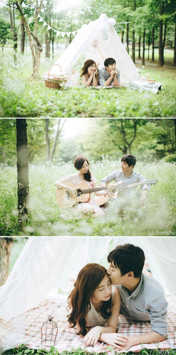 Sweet picnic! Korean outdoor pre-wedding photoshoot in Dosan Park