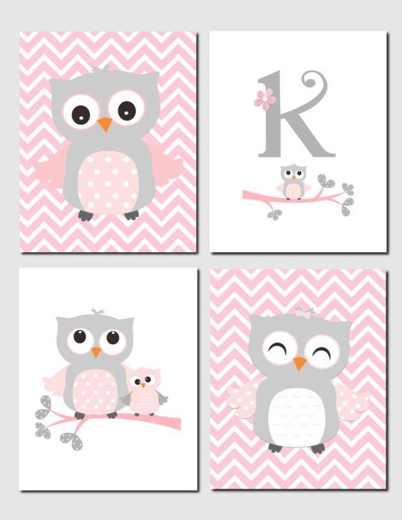 Owl Nursery Art Pink Gray Owls Initial Monogram Baby by vtdesigns: