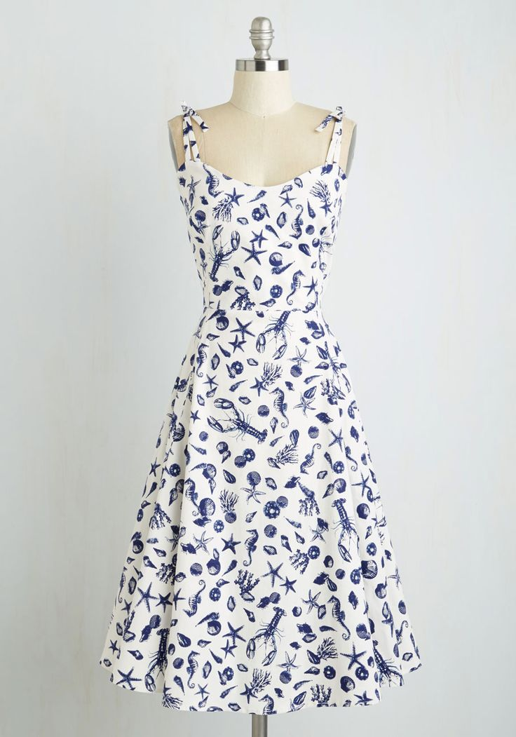 What a Catch! Dress. Without fail, intriguing prints and classic silhouettes capture your heart, so its not any wonder that this nautical dress is a shore thing for you! #multi #modcloth