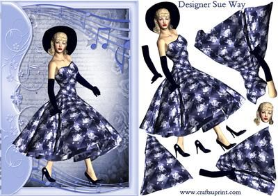 1950s Rock and Roll Beauty in Blues Decoupage