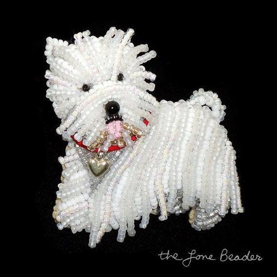 MADE TO ORDER: One bead-embroidered Westie Love dog pin/ pendant with red collar & sterling silver heart charm. This West Highland White Terrier