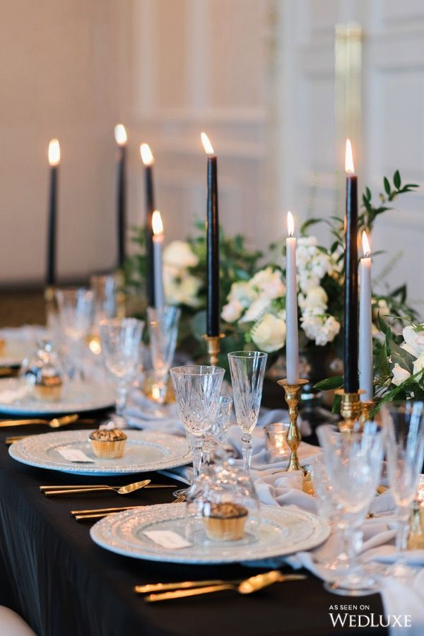 centerpieces for wedding receptions with candles%0A Love the Black Candles   Wedluxe