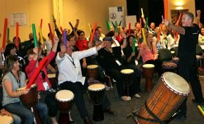 Human Rhythms provides musical team building events in Indonesia.