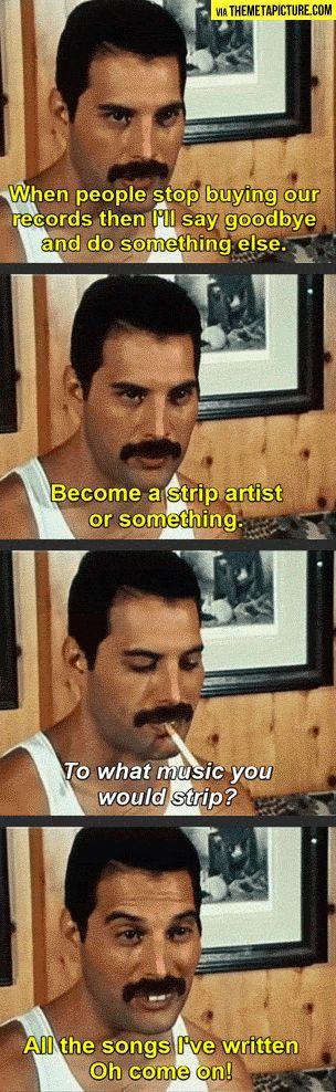 Esta entrevista le preguntan a Freddie si cuándo se alejaría de la música, que pensaba del futuro. Y les respondió lo que dice en estos cuadritos. his face in the last panel x) rip beautiful/sensational/too-talented-for-this-world freddie meercury
