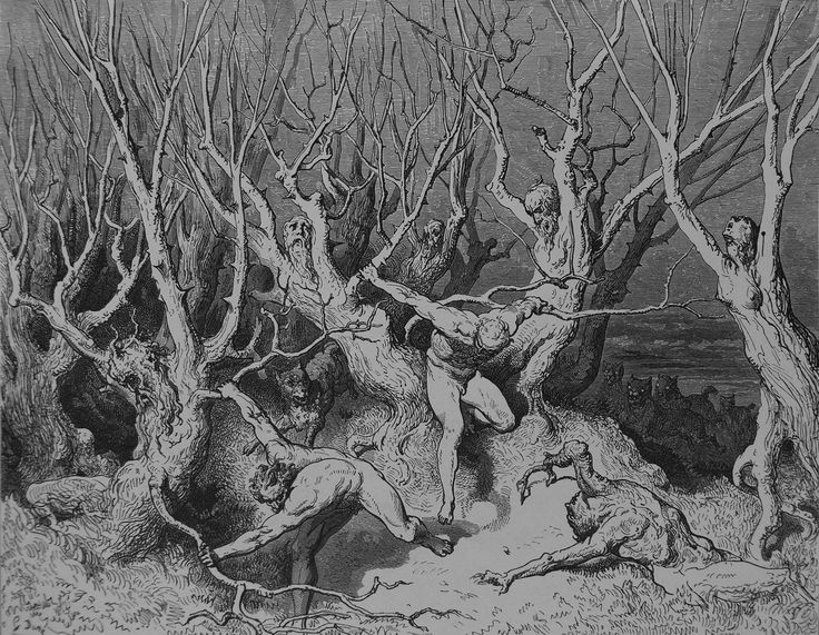 """ritualcircle:  """"Gustave Dore - Wood of the Self-Murderers (1861)  """""""