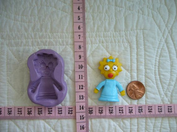 Maggie Simpson inspired, Food Grade Silicone Mold Cake Fondant Gum Paste Pastillage Chocolate Marzipan Candy or Resin Plaster Clay DIY by MoldCreationsNmore on Etsy.com