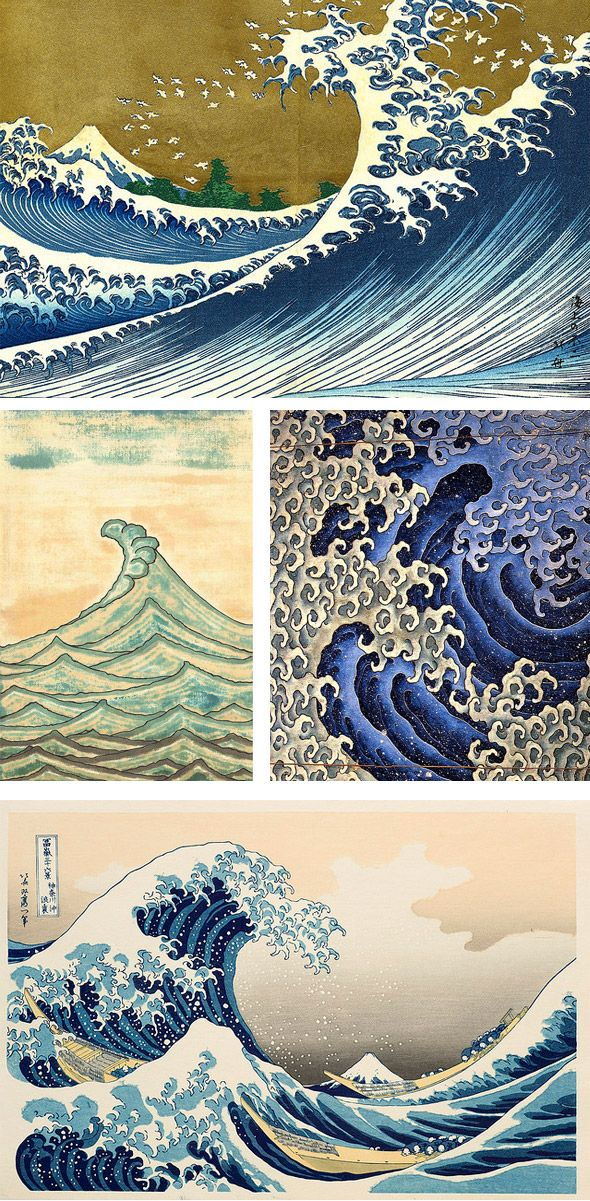 the japanese and the wave  Love this art!
