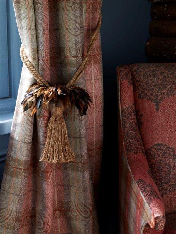 Tartan Curtains - Alberta | LF1567FR/2 | Salmon Jacquard. Chair - Manitoba | LF1568C/3 | Fall.