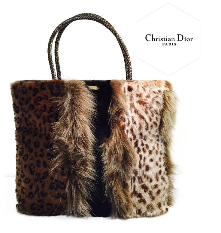 Christian Dior Authentic Multi Fur Handbag and Leather #ChristianDior #EveningBag