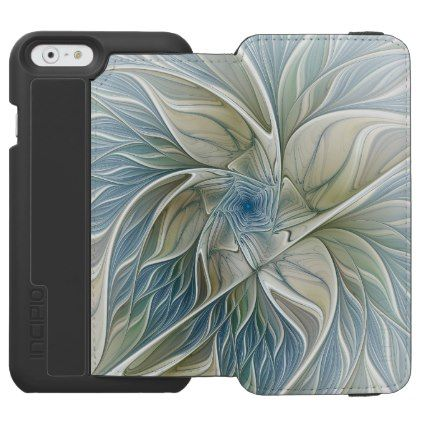 Floral Dream Pattern Abstract Blue Khaki Fractal iPhone 6/6s Wallet Case - floral style flower flowers stylish diy personalize