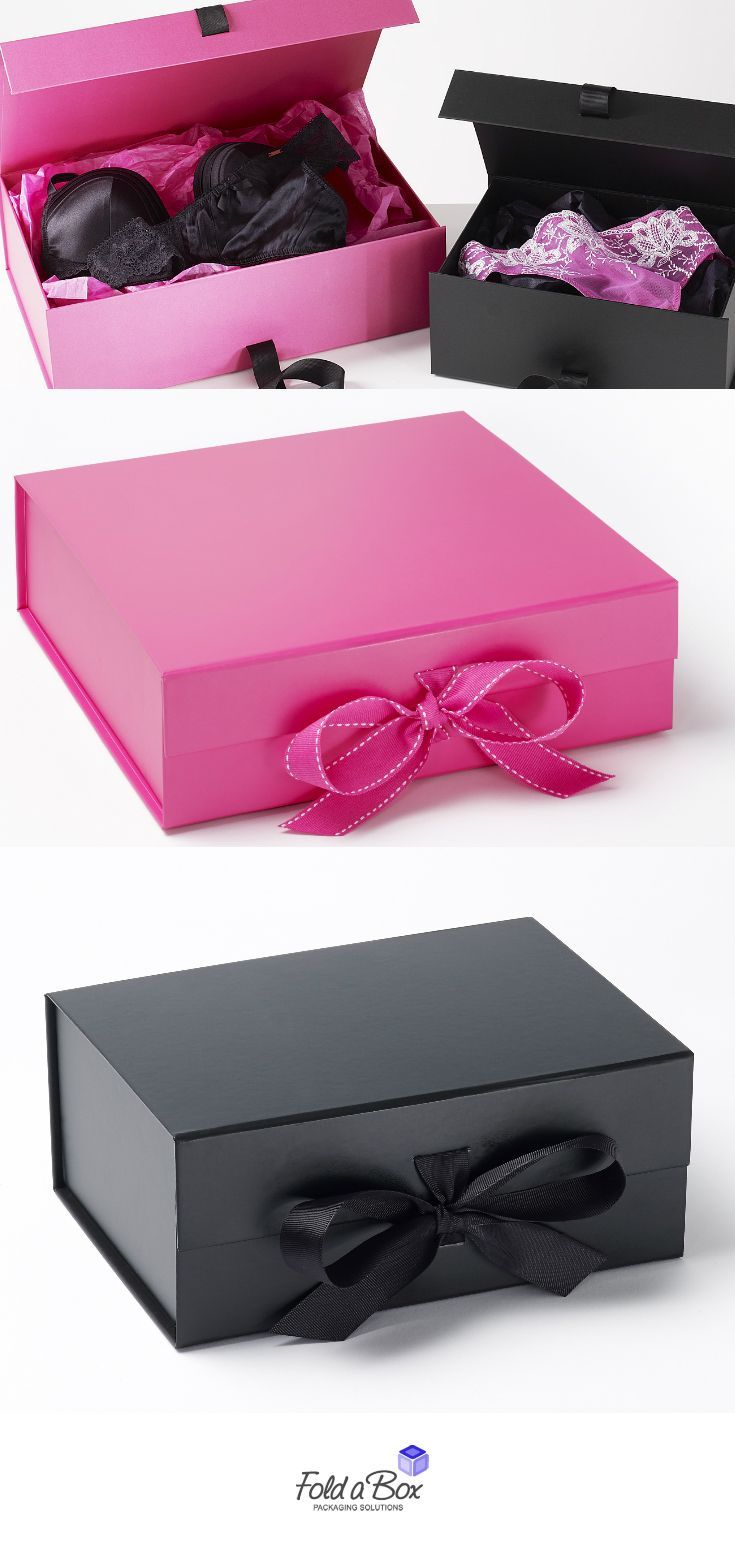 Our cerise pink and black gift boxes are perfect for lingerie POS and gifting. See our full range of boxes @ www.foldabox.co.uk - lingerie teddy, cameo lingerie, intimates uk *ad