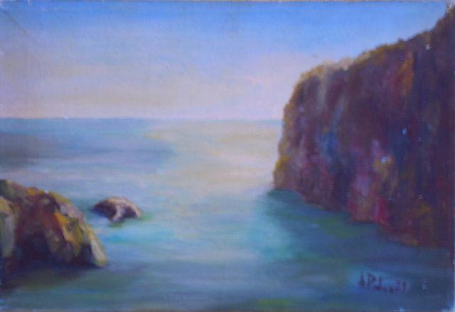 Mare a Positano ( Italia). Anno 1980. Dipinto dal vero Dim. cm 30 x cm 50. Autore Maestro Alfonso Palma