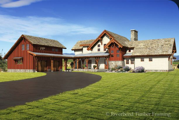 This barn style timber frame home floor plan features an l for Barn shaped house plans