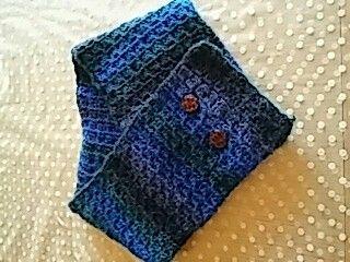 Hæklet tørklæde på nål. 5.5 mm blok mønster