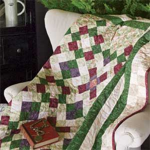 English Garden: Floral Geometric Lap Quilt Pattern Designed by LINDA HAHN Machine Quilted by DEBORAH STANLEY, patterned in McCall's Quilting March/April 2014