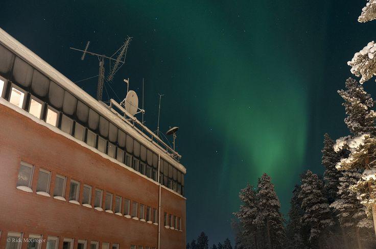Aurora over the Space Campus, IRF Kiruna