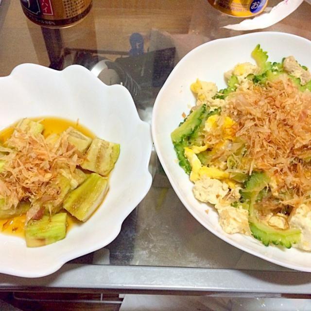 家にナスもあって、ゴーヤもやすかったので、作りました。  ゴーヤチャンプルーの余りは、例によって、明日の弁当のおかずです。  ゴーヤチャンプルーの味付けは醤油とみりん。 おひたしは麺つゆです。 - 9件のもぐもぐ - ゴーヤチャンプルー × なすのおひたし by Takaya