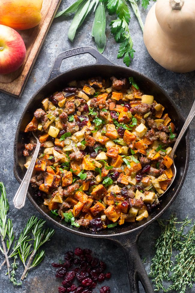 Paleo Butternut Sausage Stuffing with apples and cranberries. Grain and gluten free Thanksgiving stuffing with all the flavors of traditional recipes.