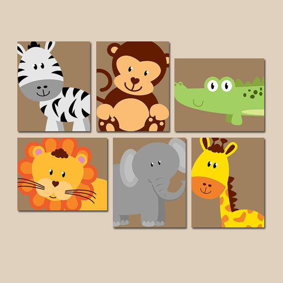Safari animal wall art animal nursery artwork zoo jungle for Kinderzimmer set baby