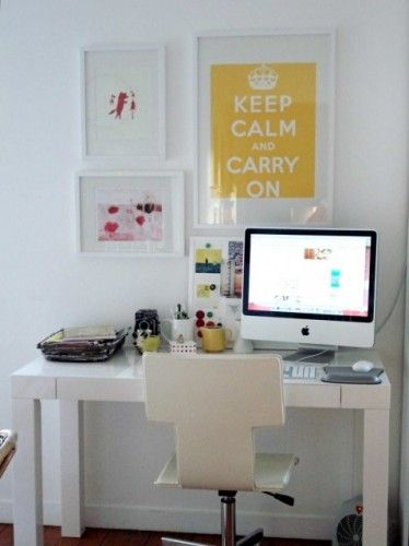 do you like minimal home office decor check out this really simple home office space featuring a modern desk and chair in all white with just a few punches