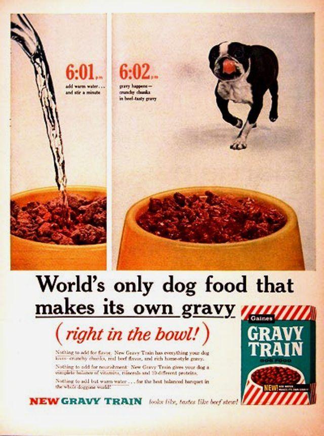Vintage Magazine Ad For Gaines Gravy Train Dog Food 1960 Dog