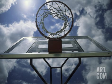 Low Angle View of a Basketball Net Photographic Print at Art.com