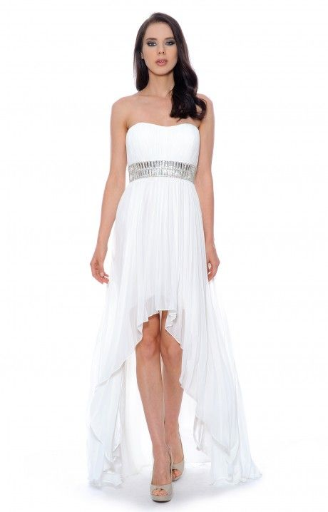 White Flowing High Low Dresses For Juniors Beaded Chiffon