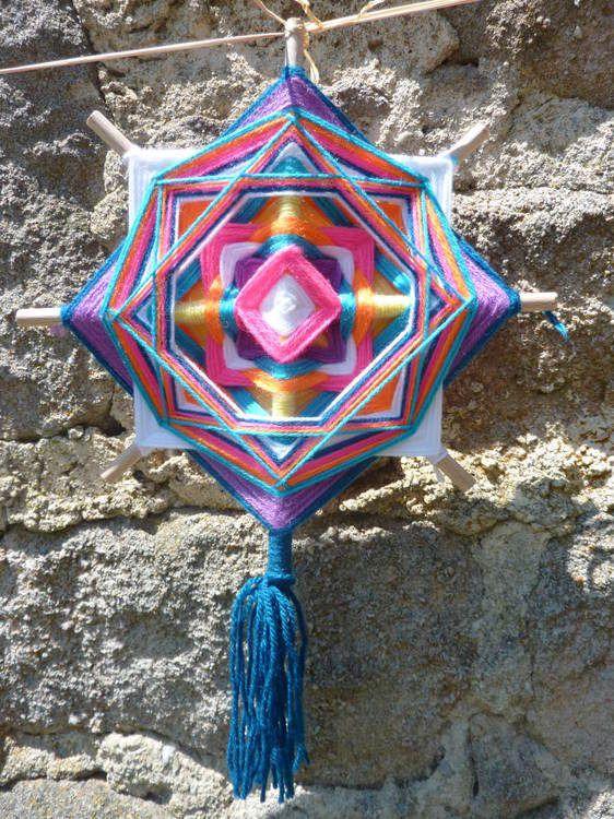 Mandala Oeil de Dieu Joie Poudrée : Autres art par l-atelier-de-la-faiseuse