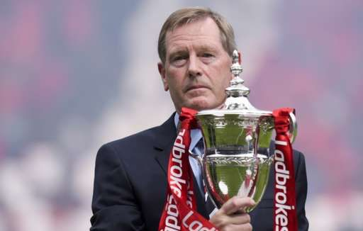Rangers chairman Dave King with the Scottish Championship trophy before kick-off