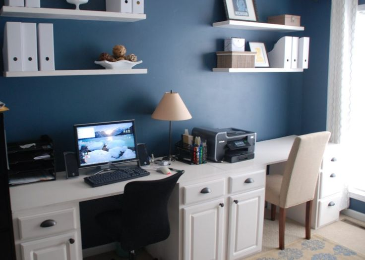 Delightful white finish stained wooden monitor desk wooden study desk wooden rack wall mounted rack white fabric curtain wooden frame window light blue finish stained plastering wall