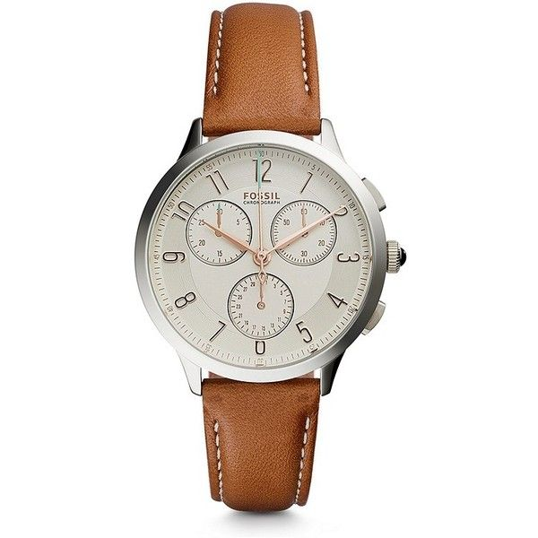 Fossil Abilene Chronograph Dark Brown Leather Watch ($115) ❤ liked on Polyvore featuring jewelry, watches, leather jewelry, leather chronograph watch, fossil watches, vintage jewelry and leather watches