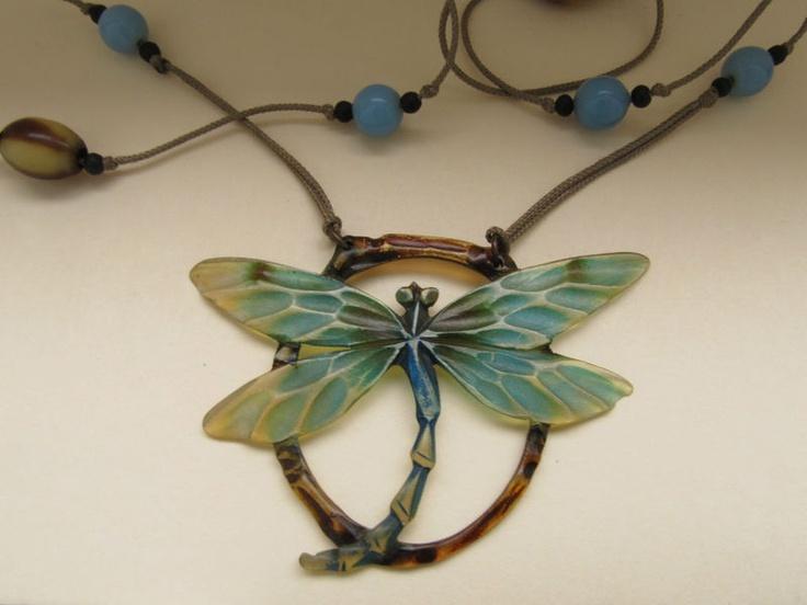 ANTIQUE FRENCH ART NOUVEAU ELIZABETH BONTE CARVED HORN DRAGONFLY NECKLACE: Dragonfly Necklace