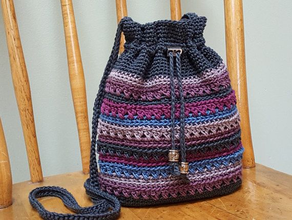 Crochet Crossbody Drawstring Bag Gray Blue by kathyscrochetcloset