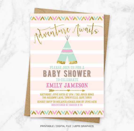 Teepee Baby Shower Invitation Tribal Baby Shower Invitation