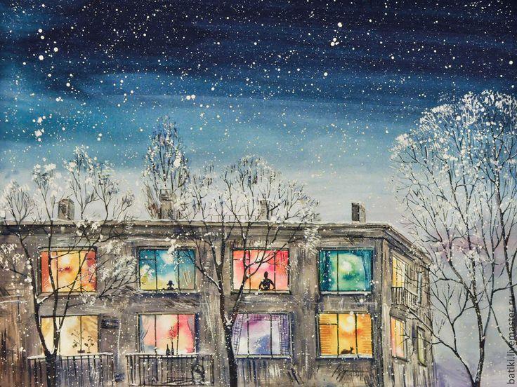 Watercolor painting | Купить Космическая зима. Картина акварелью - тёмно-синий, ночь, дом, окна, свет, зима