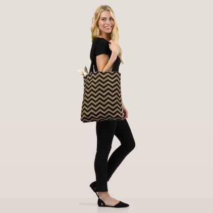 gold chevrons earthy natural tones with gold tote bag - personalize design idea new special custom diy or cyo