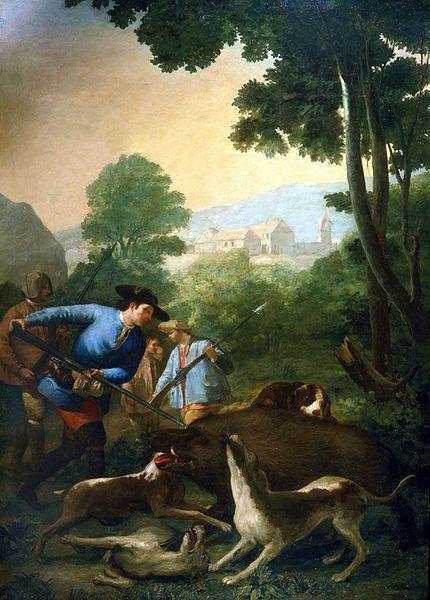 La caza del jabalí. c.1775 by Francisco de Goya