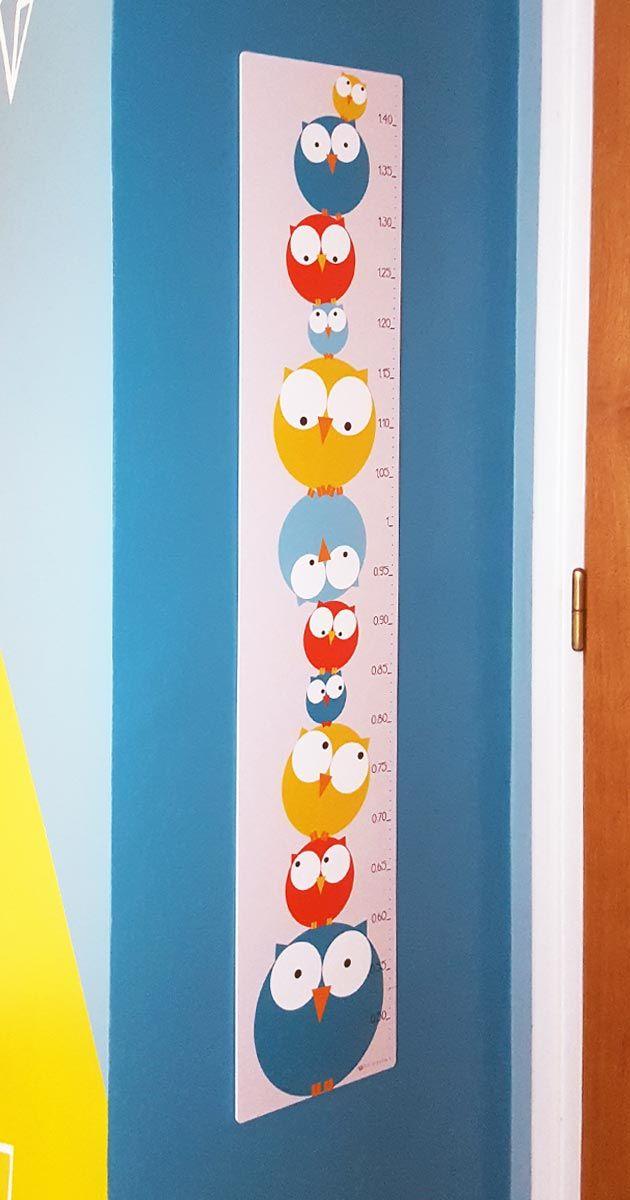 Déco chambre bébé enfant - Toise chouette bleue et jaune   Pigment des Belettes