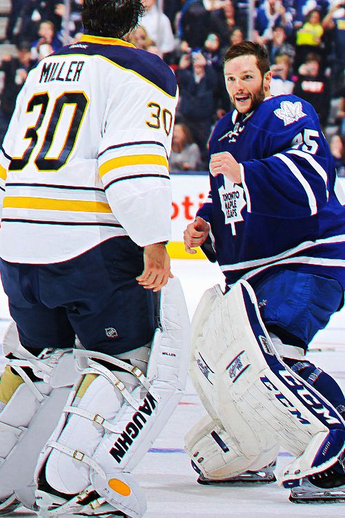 Jonathan Bernier of the Toronto Maple Leafs and Ryan Miller of the Buffalo Sabres  - goalie fight!