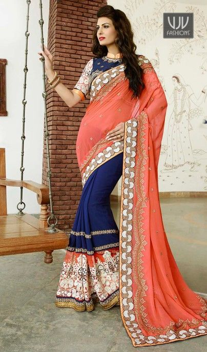 Celestial Patch Border Work Bamber Georgette Designer Saree  Keep ahead in style and design with this blue bamber georgette designer saree. The ethnic embroidered, patch border and resham work with the apparel adds a sign of attractiveness statement for the look.