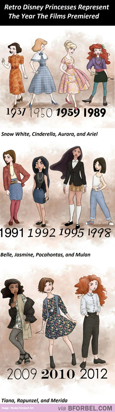 11 Retro Disney Princesses Dressed Up To Represent The Year The Films Premièred! This is lovely,: