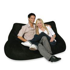 Two Seater Black Plush Bean Bag Chair Cover