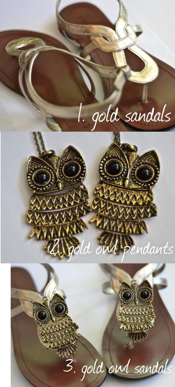 Wow I love this! The owl on the sandals could be anything. Gorgeous.