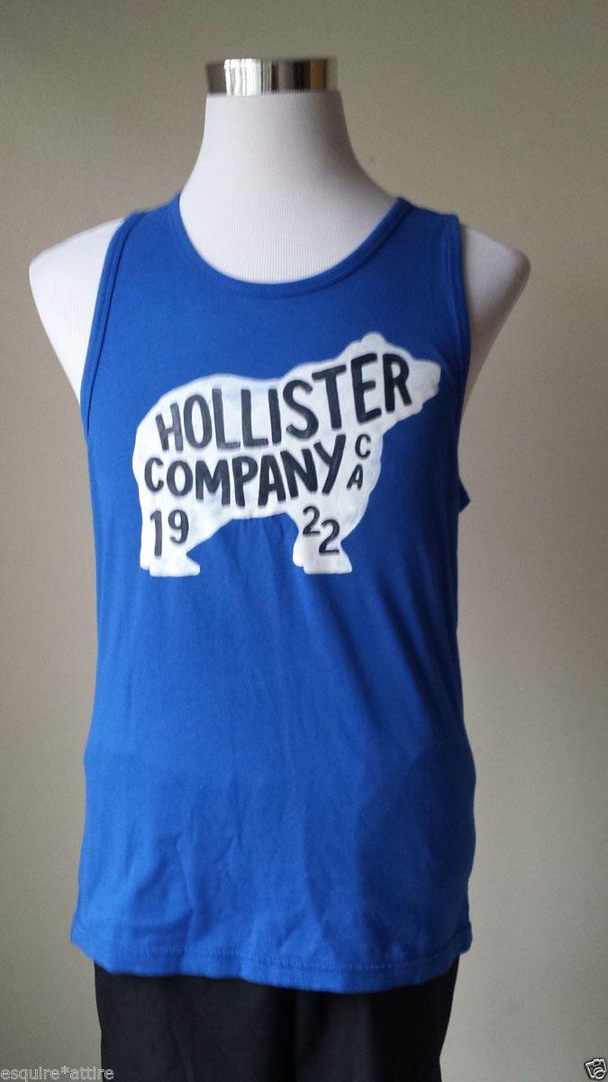 Design your own t shirt ebay - Details About Hollister Men Size M Graphic Tank Top Blue Cotton Summer Beach T Shirt