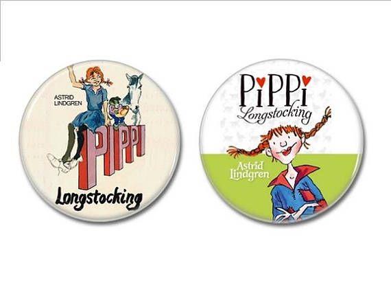 Pippi Longstocking buttons set of 2!   #PippiLongstocking #buttons #badges #pins #astridlindgren #childrensbooks