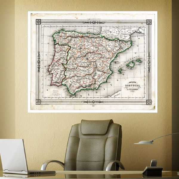 Adesivi Murali Espagne et Portogallo per decorare una parete #mappa #politica #adesivi #murali #vinile #deco #decorazione #muro #StickersMurali