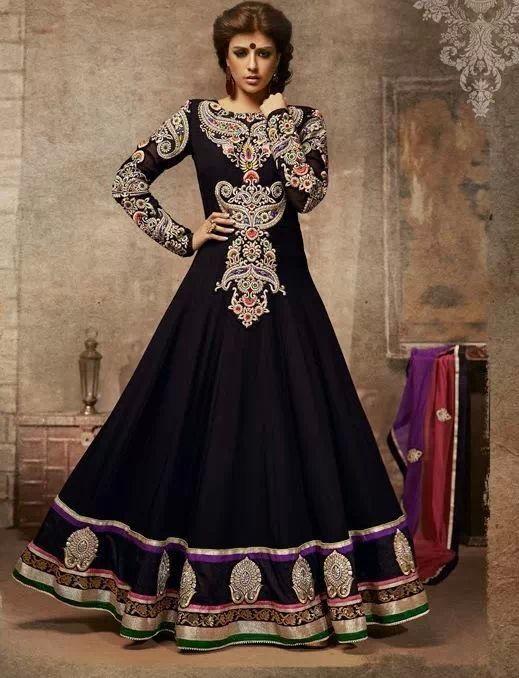 Beautiful black floor length georgette anarkali dress @ INR 6499/-  Www.faceboo.com/palakscreations